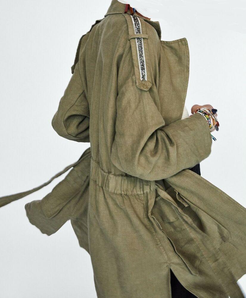 388aacd956 NWT ZARA LINEN COAT WITH APPLIQUÉ Jacket Blazer Khaki Size S Ref ...