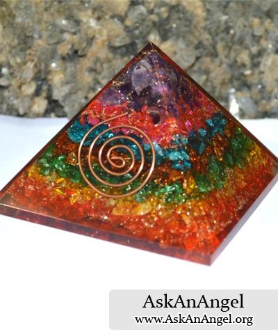 This spectacular orgonite pyramid combines quartz crystal,  amethyst, blue & peach aventurine. Visit Store: http://store.askanangel.org/seven-chakra-orgone-pyramid-en…/ Visit http://www.AskAnAngel.org