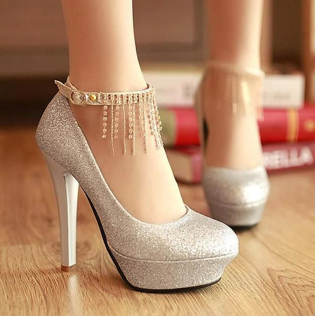Glitter Upper Rhinestone Tassel Ankle Strap Platform Heels | High heel,  Quinceanera shoes and Clothes