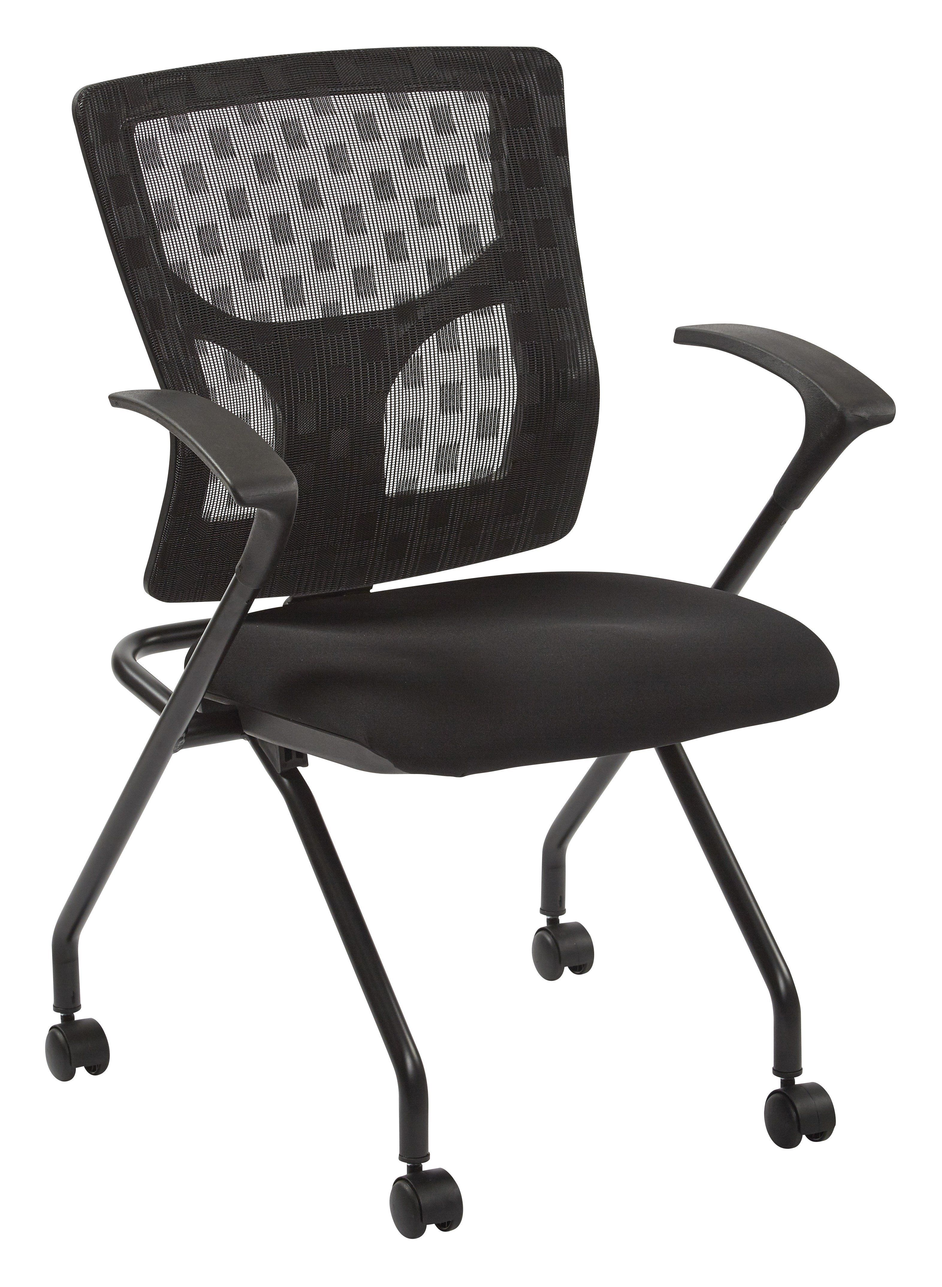 Office Star Black Coal Progrid Checkered Mesh Back Folding Chair Set Of 2