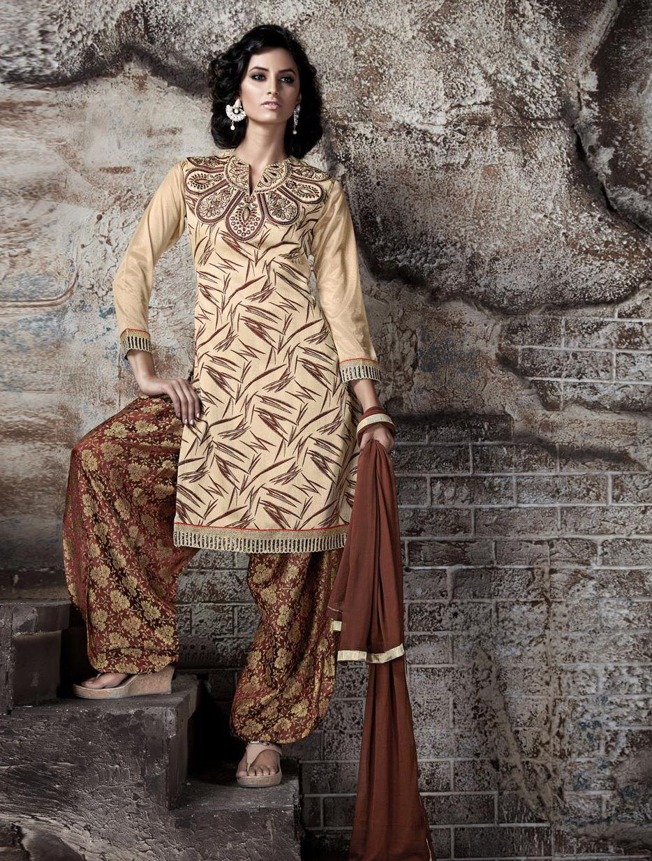 Beige Bhagalpuri Patiala Suit