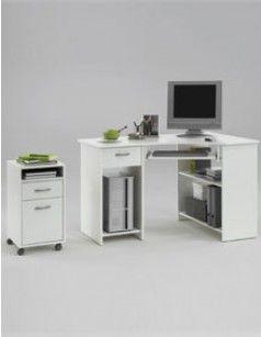 bureau d 39 angle informatique blanc avec caisson en option agnan astuces d cos et petits espaces. Black Bedroom Furniture Sets. Home Design Ideas