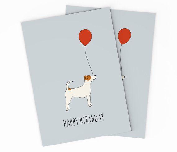 Printable Jack Russel Terrier Birthday Card Digital Birthday