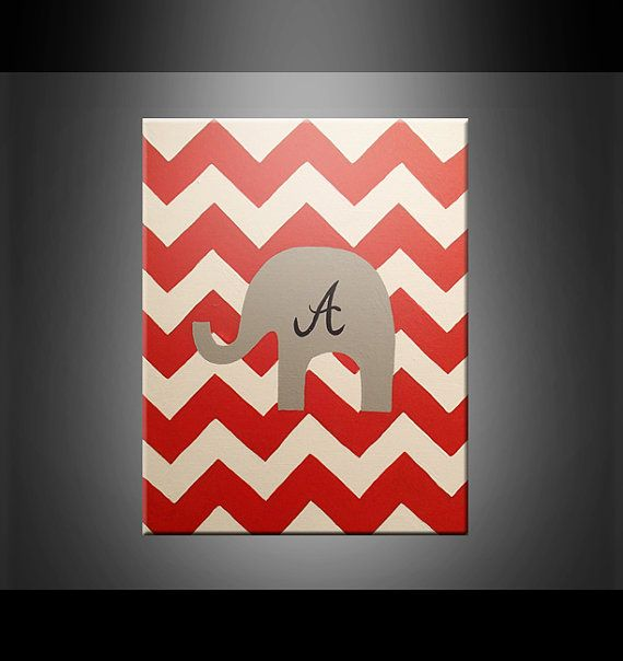 Great Alabama Football Sports Fan Painting Chevron Elephant Wall Art Home Decor  Red Grey Black White Team