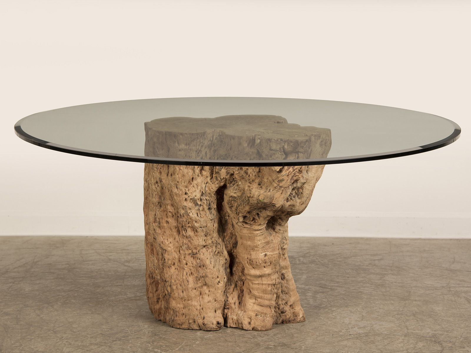 Awesome Teak Tree Trunk Table With Circled Glass Top As Inspiring Cocktail  Table Ideas With Natural