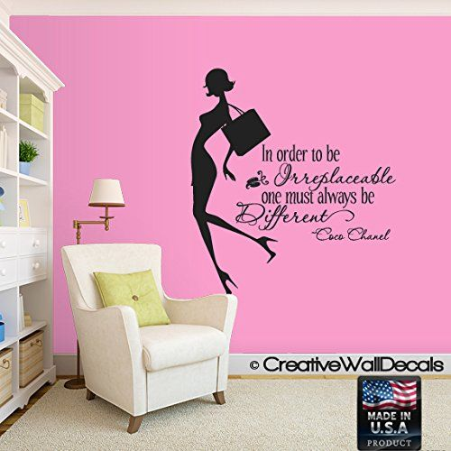 "48"" Coco Chanel Classy and Fabulous - WALL STICKER DECAL QUOTE ART MURAL Large Nice"