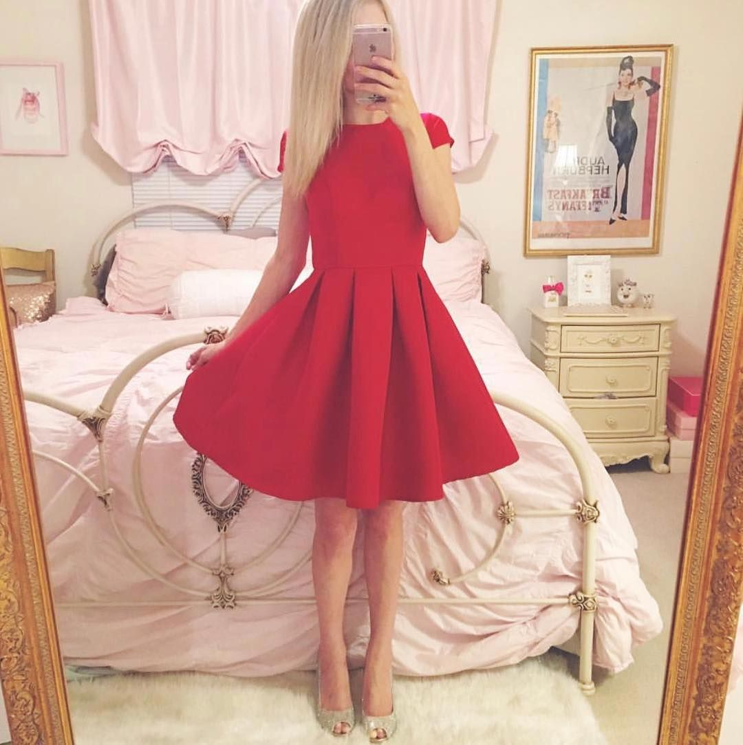 Simple satin short homecoming dress cap sleeves semi ღ short