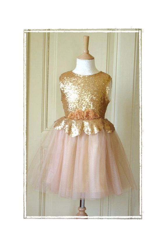 Custom Sequin And Tulle Flower Girl Dress Made To Order For Bridal