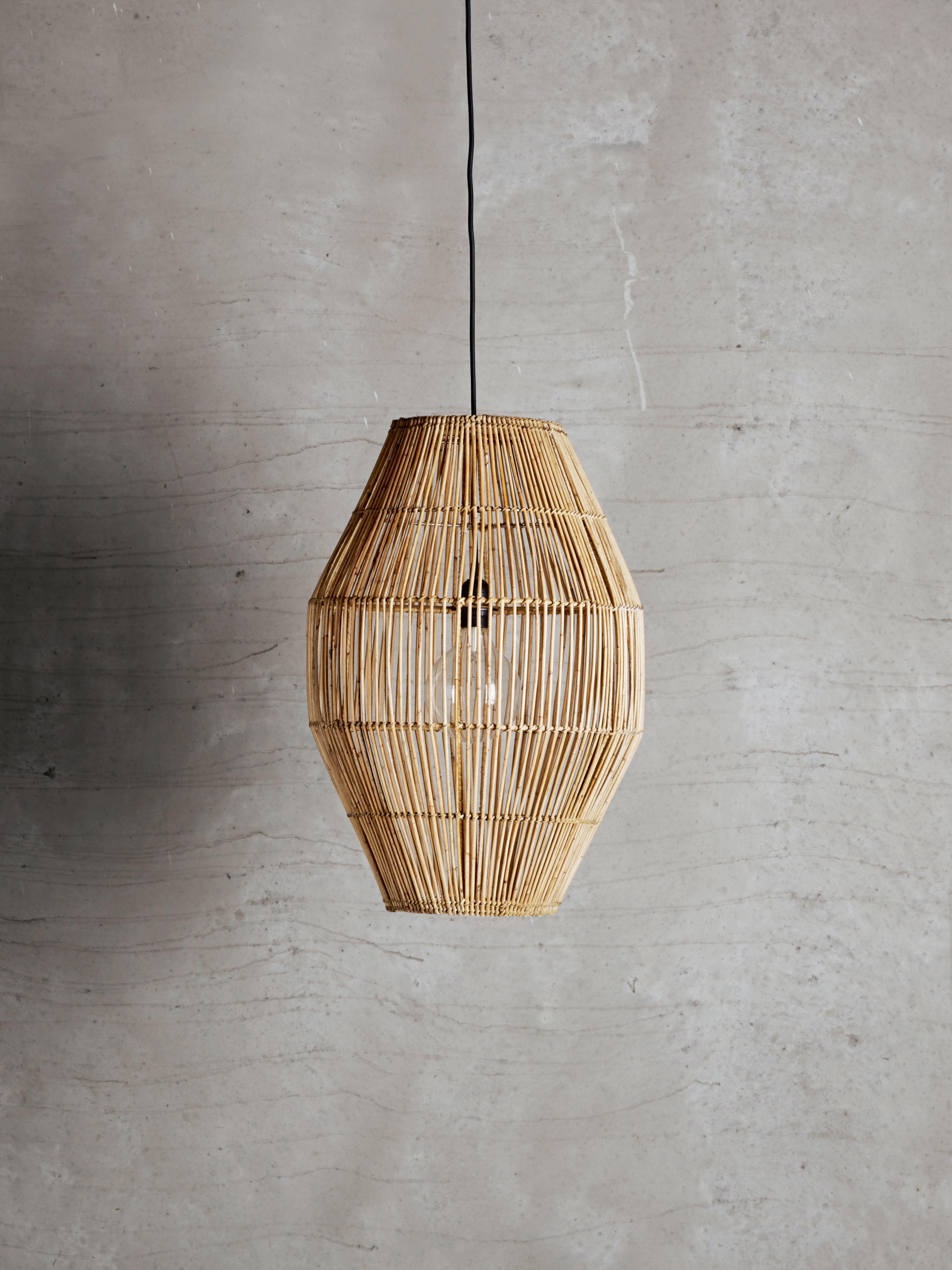 Large Rattan Lampshade In Perfect Organic Shape Industrial Retro