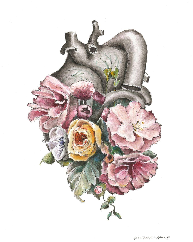 Floral Anatomy Heart Watercolor Painting 8x10 by tinyartshop Tattoos