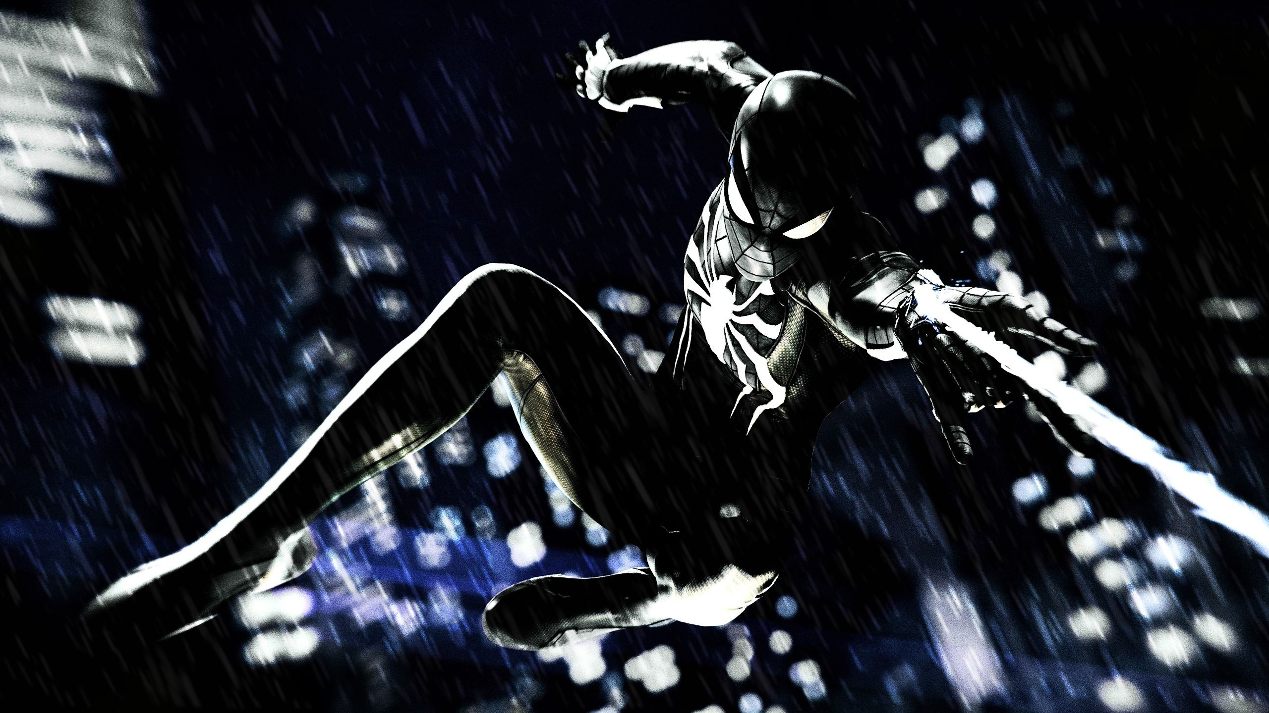 spider man ps4 black suit wallpaper 2560 1440 spider man
