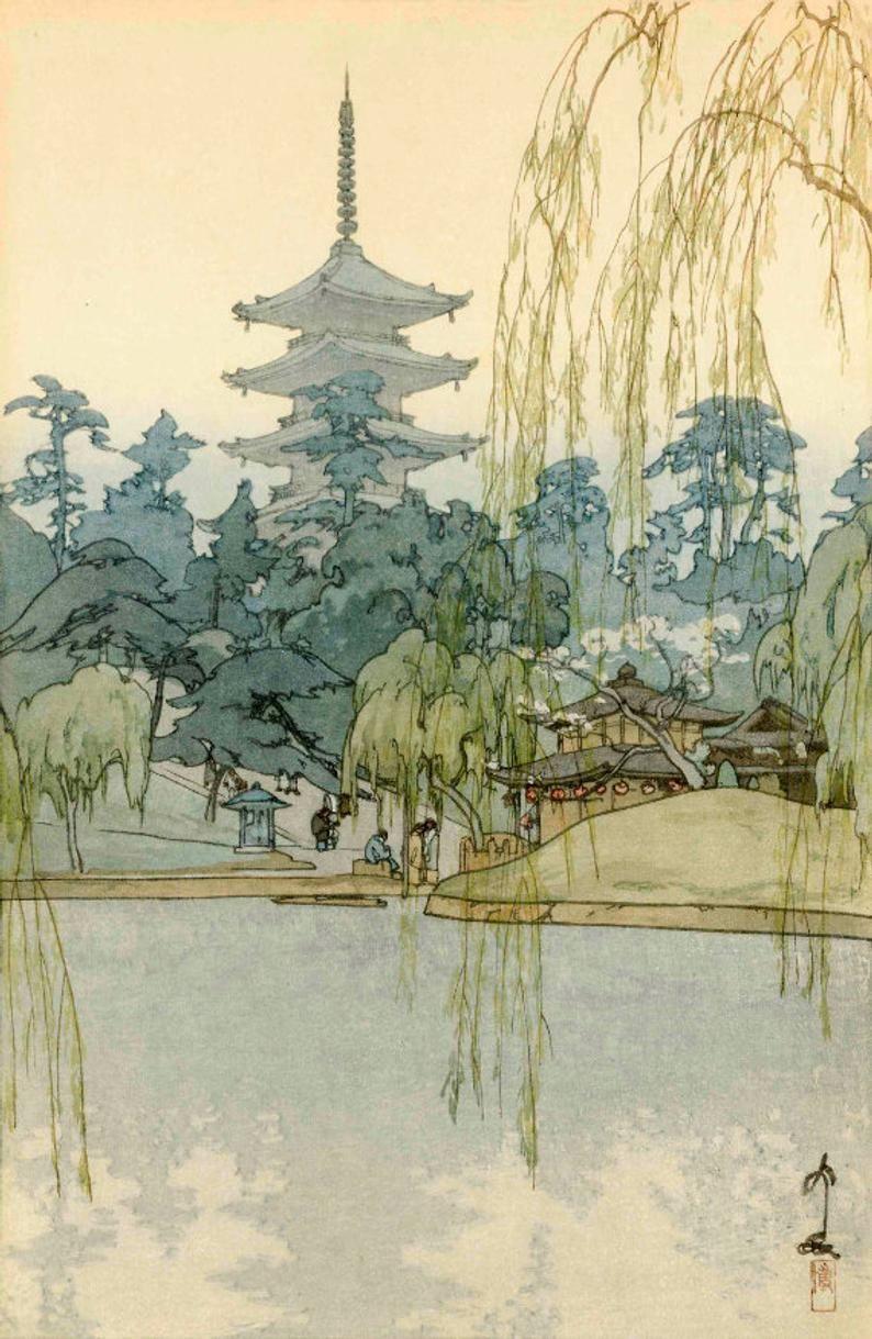 Japanese Art Print Sarusawa Pond Sarusawa Ike By Yoshida