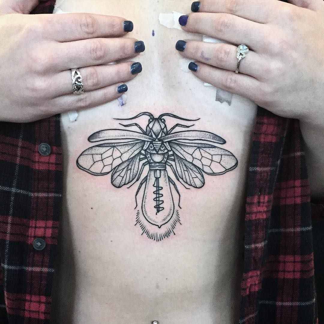 "Laura Black Firefly Tattoo: ""Mechanical Lighting Bug For Alyssa ☪ #tattoo #black"