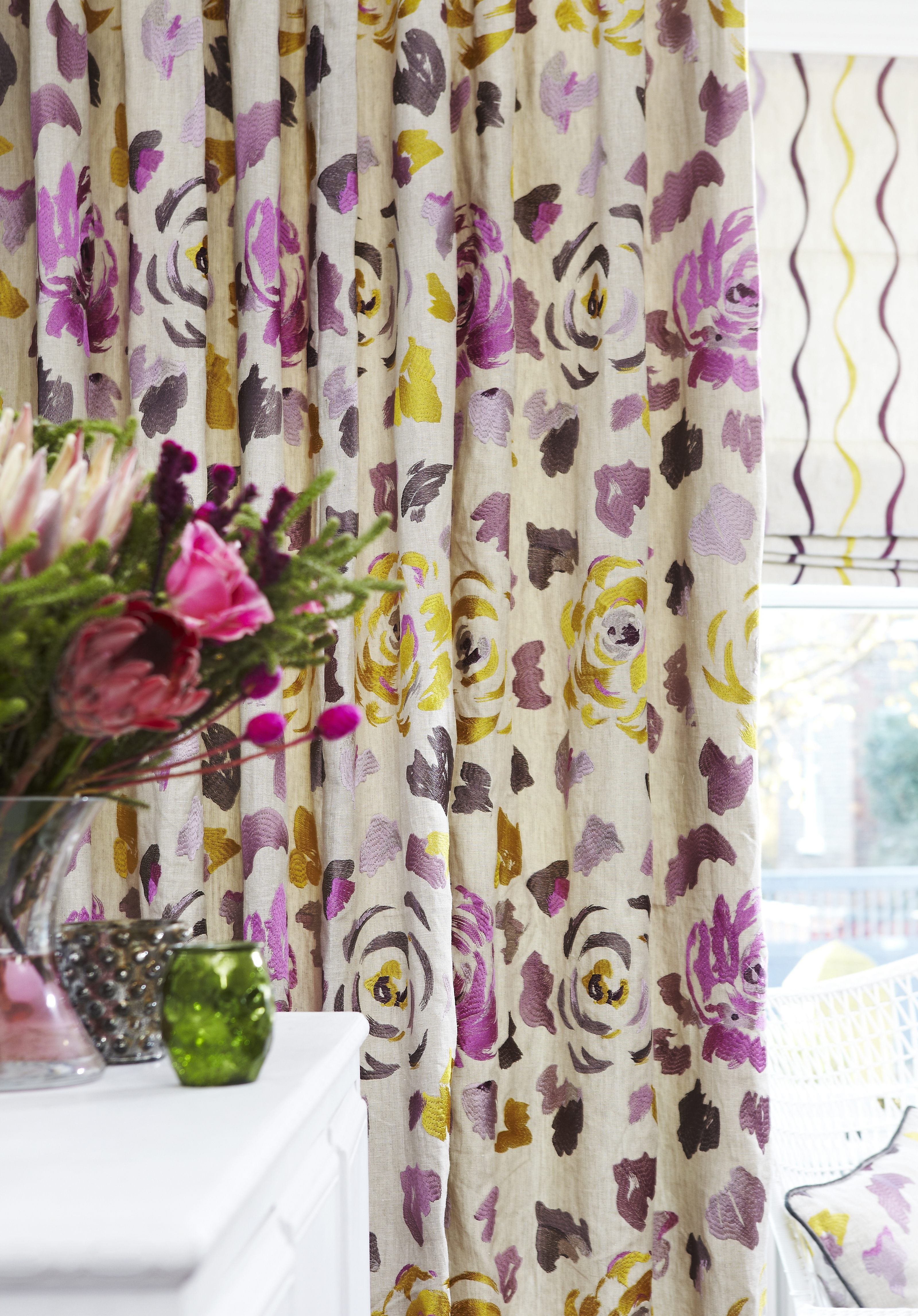 Floral Embroidery Curtains Floral Curtains Painterly Prints