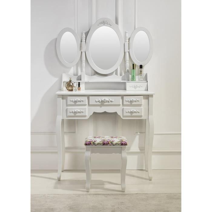 Coiffeuse blanche avec siège et 3 miroirs - Achat   Vente COIFFEUSE - meuble coiffeuse avec miroir pas cher