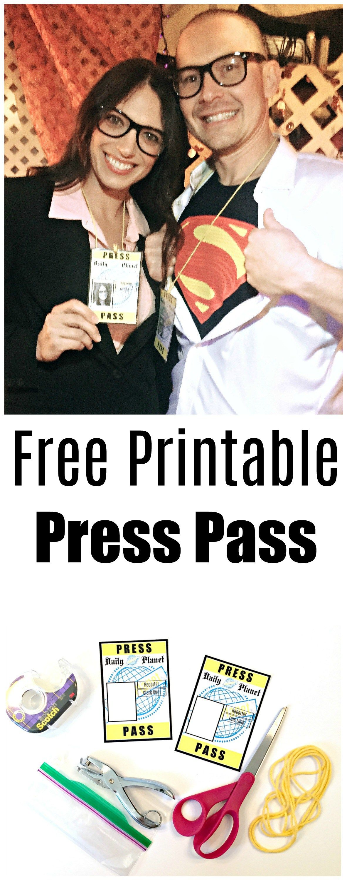 image relating to Lois Lane Press Pass Printable named Cost-free Printable Thrust P for Lois Lane and Clark Kent