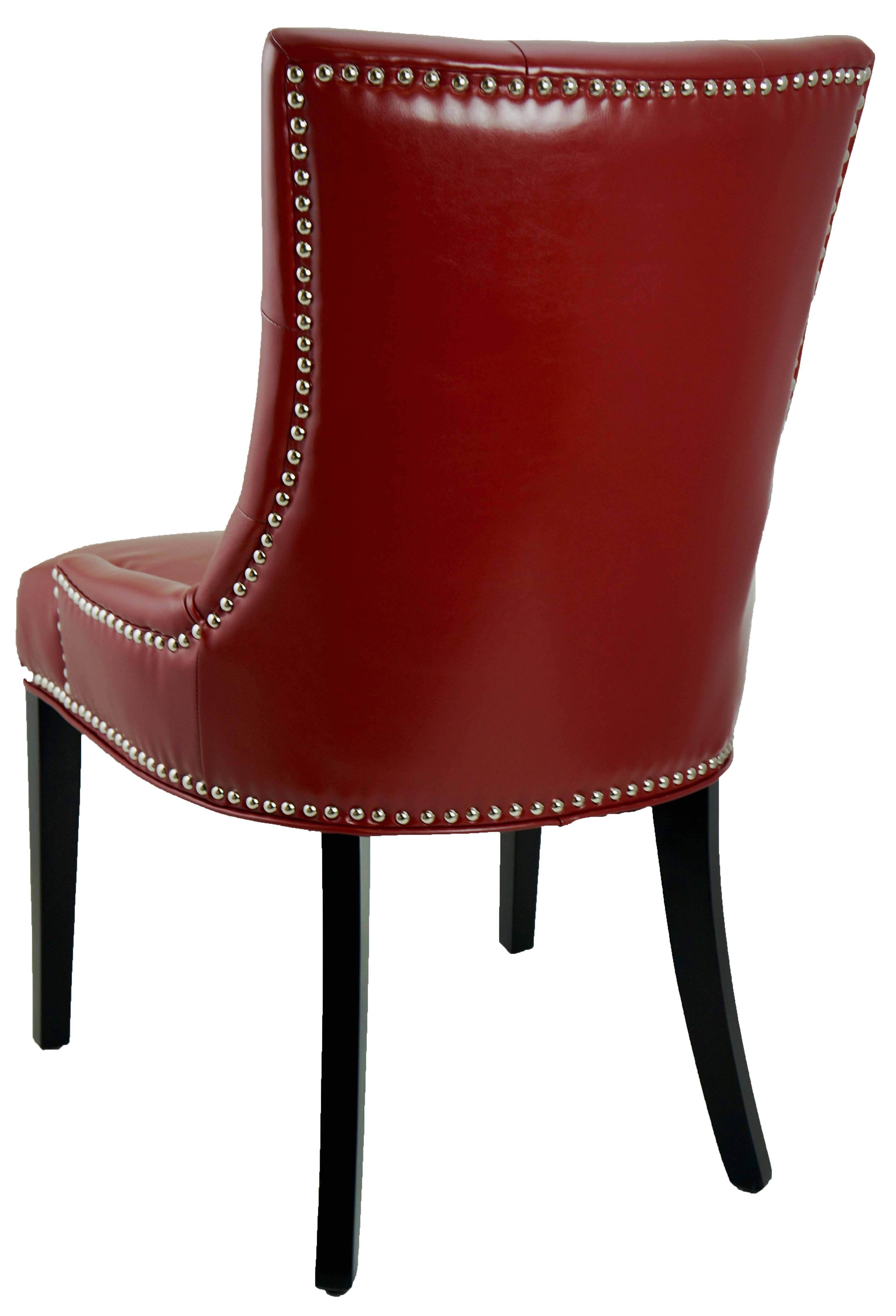 Red Leather Dining Room Chairs Leather Parson Dining Room Kitchen Chairs Red Accent Tufted