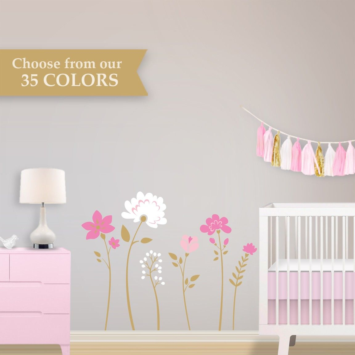 15 glitzy gold ways to make a nursery or kids room shine gold flower wall decals choose your colors floral removable gold nursery wall decals amipublicfo Image collections