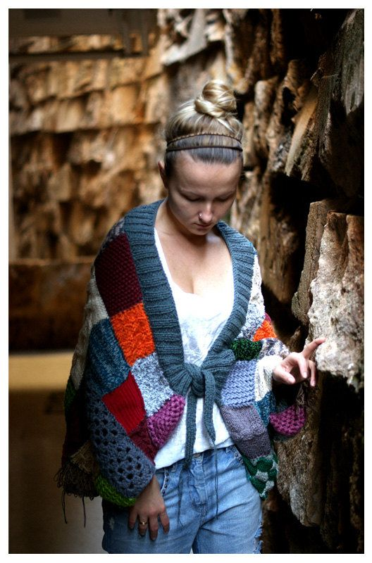 Chunky Hand Knitted Jacket. by munamiu on Etsy