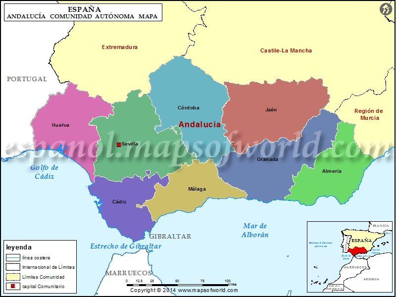 Mapa De Andalucia Mapa Politico De Andalucia España Mapa De Andalucia Andalucía Andalucia España