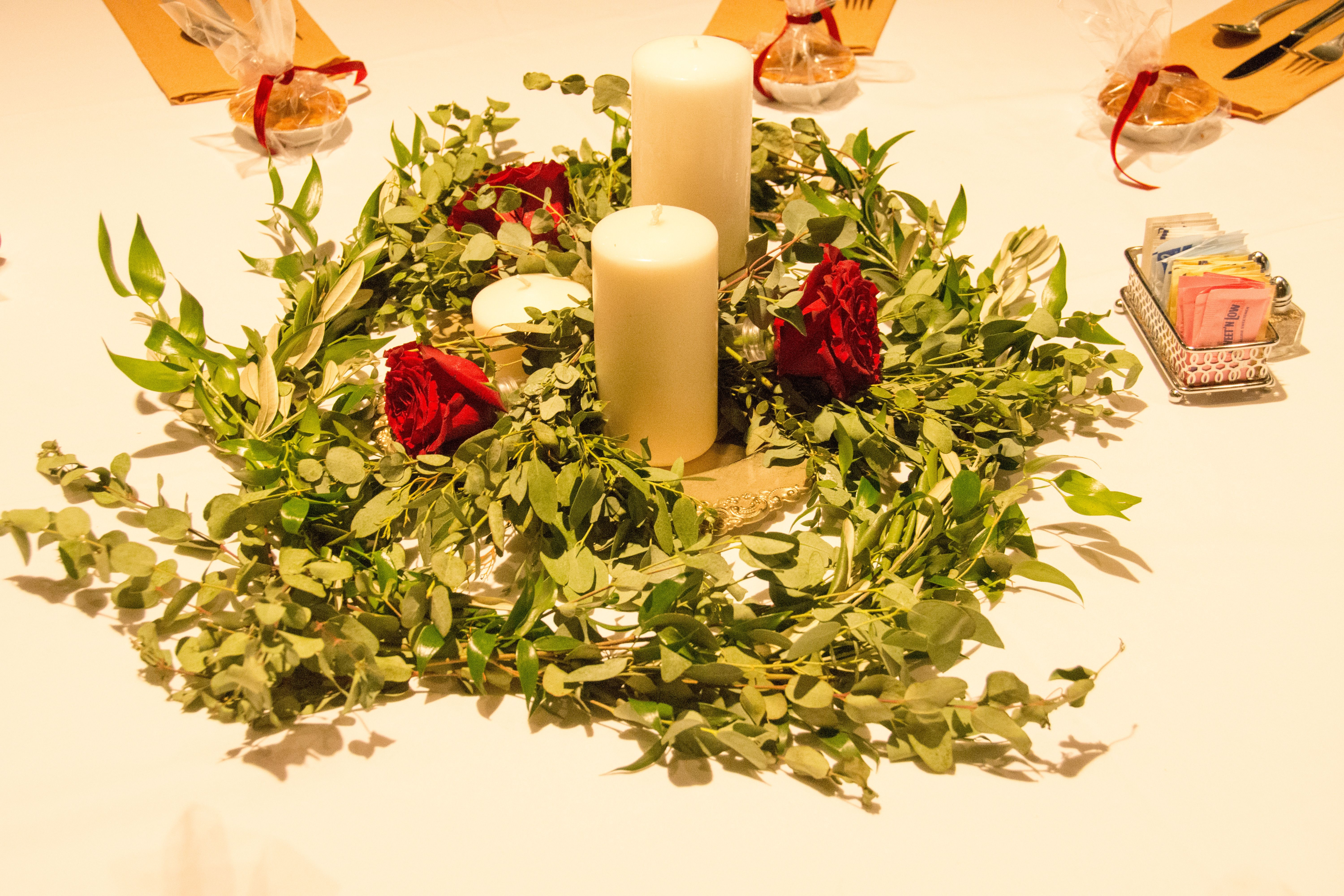table centerpiece of myrtle and eucalyptus with garden