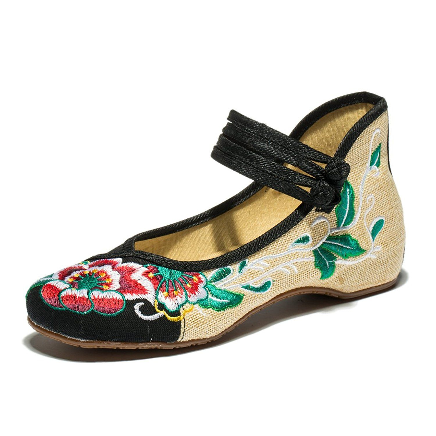 Womens Flats Chinese-style Handmade Folk Embroidery Shoes Floral Dance Shoes