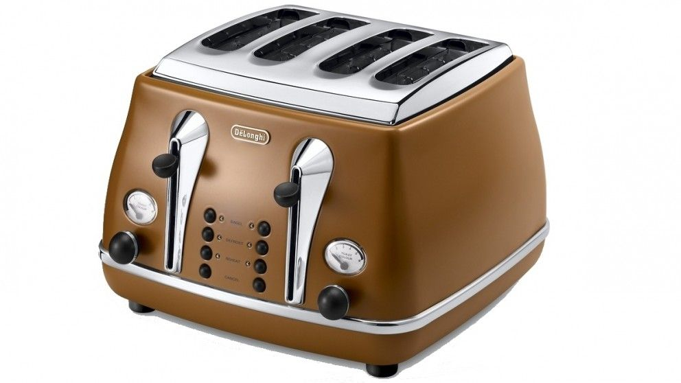 This DeLonghi Vintage Icona 4 Slice Toaster not only looks amazing but has a wide range of modern features including progressive electronic browning controls and independent 2-slice operation. It even has two removable crumb trays for easy cleaning. It's available in azure, brown, beige, black and green.