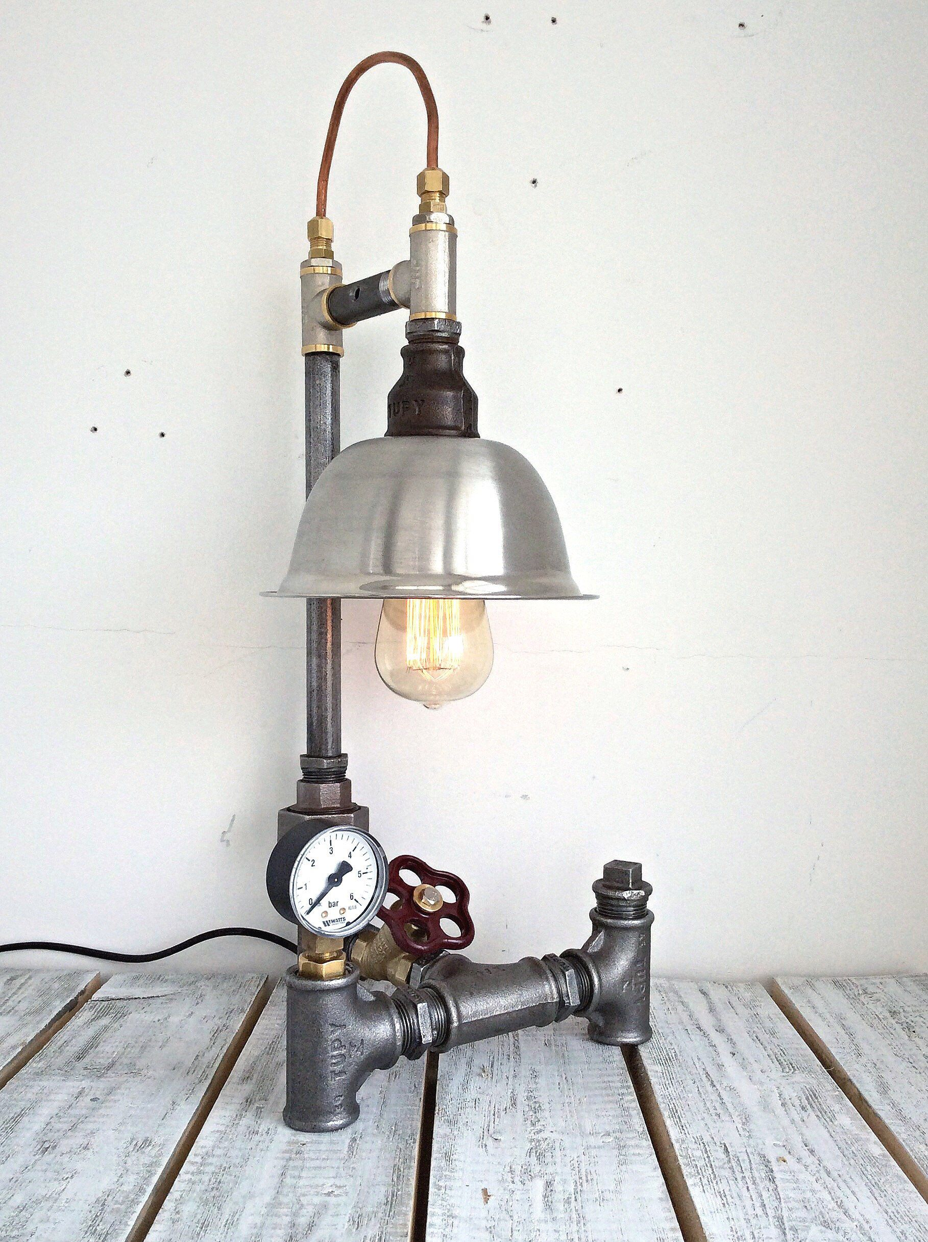 Steampunk Lamp, Unique Table Lamp, Industrial Lamp , Industrial Lampshade