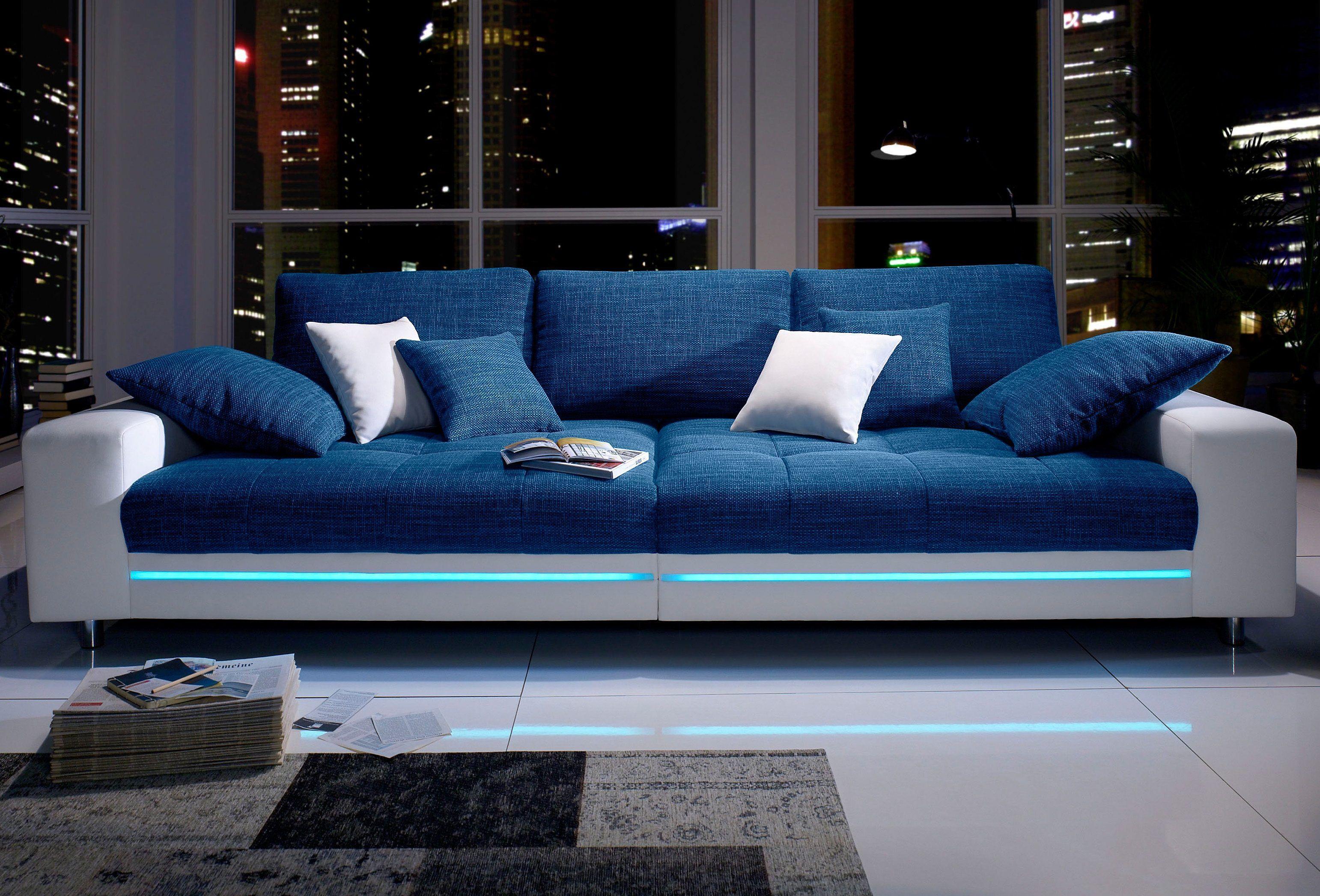 Beautiful Big Sofa wei Mit RGB LED Beleuchtung Energieeffizienzklasse A FSC zertifiziert inklusive loser Zier und R ckenkissen yourhome Jetzt bestellen