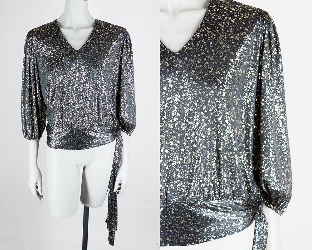 Vintage 80s Top / 1980s Black and Gold Side Tie Splatter Top by FloriaVintage on Etsy