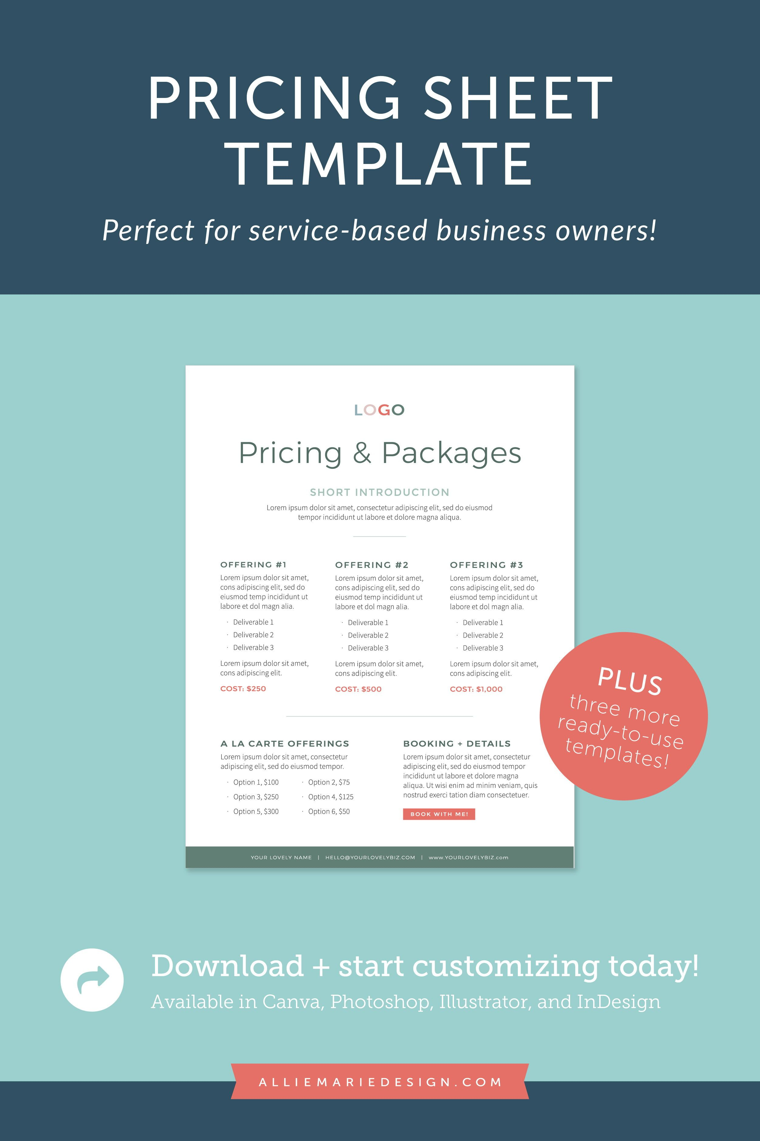Check Out This Pricing Sheet Template Perfect For Service Based Business Owners From Alliemarie Desig Workbook Template Print Design Template Workbook Design