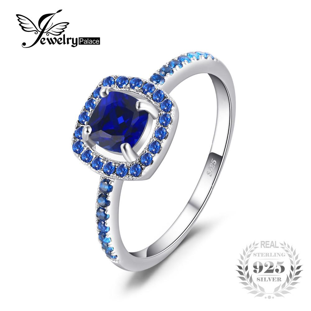 63f41251a012 JewelryPalace Fashion 2 ct Square Created Sapphire Blue Spinel Engagement  Ring For Women 100% 925
