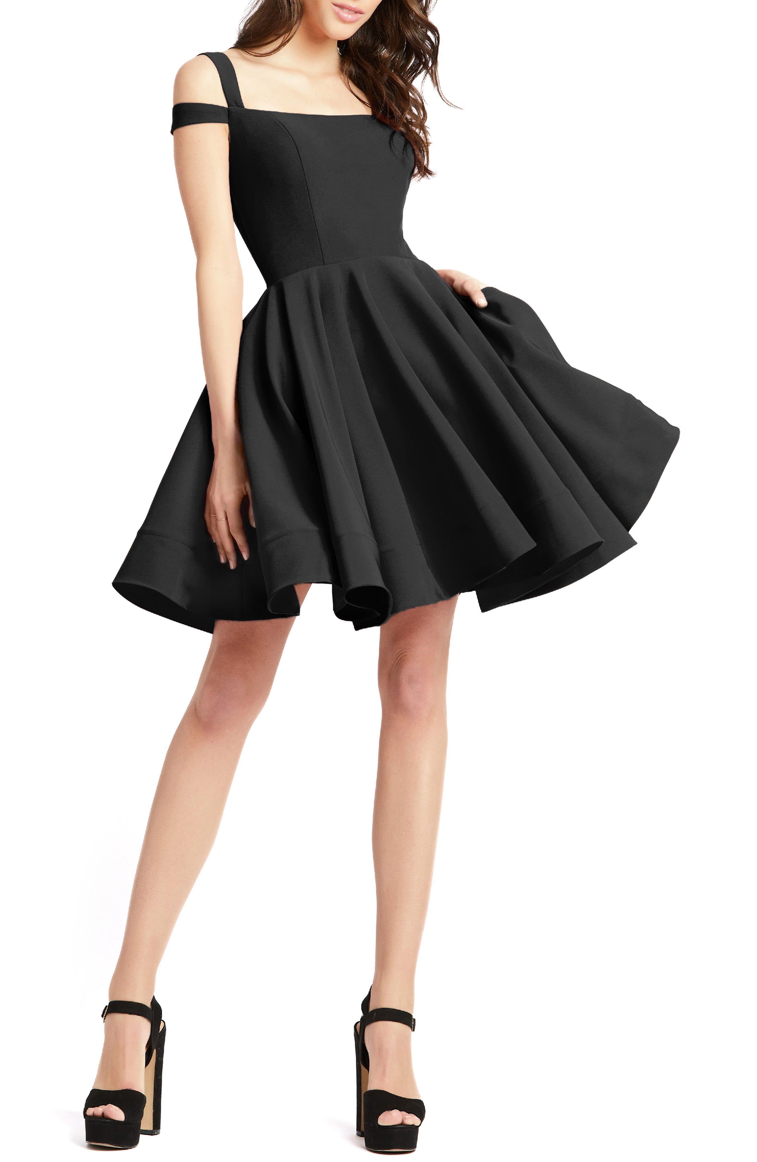 Mac Duggal Cold Shoulder Cocktail Dress Nordstrom In 2021 Short Black Cocktail Dress Short Black Bridesmaid Dresses Flared Skirt Dress [ 4048 x 2640 Pixel ]