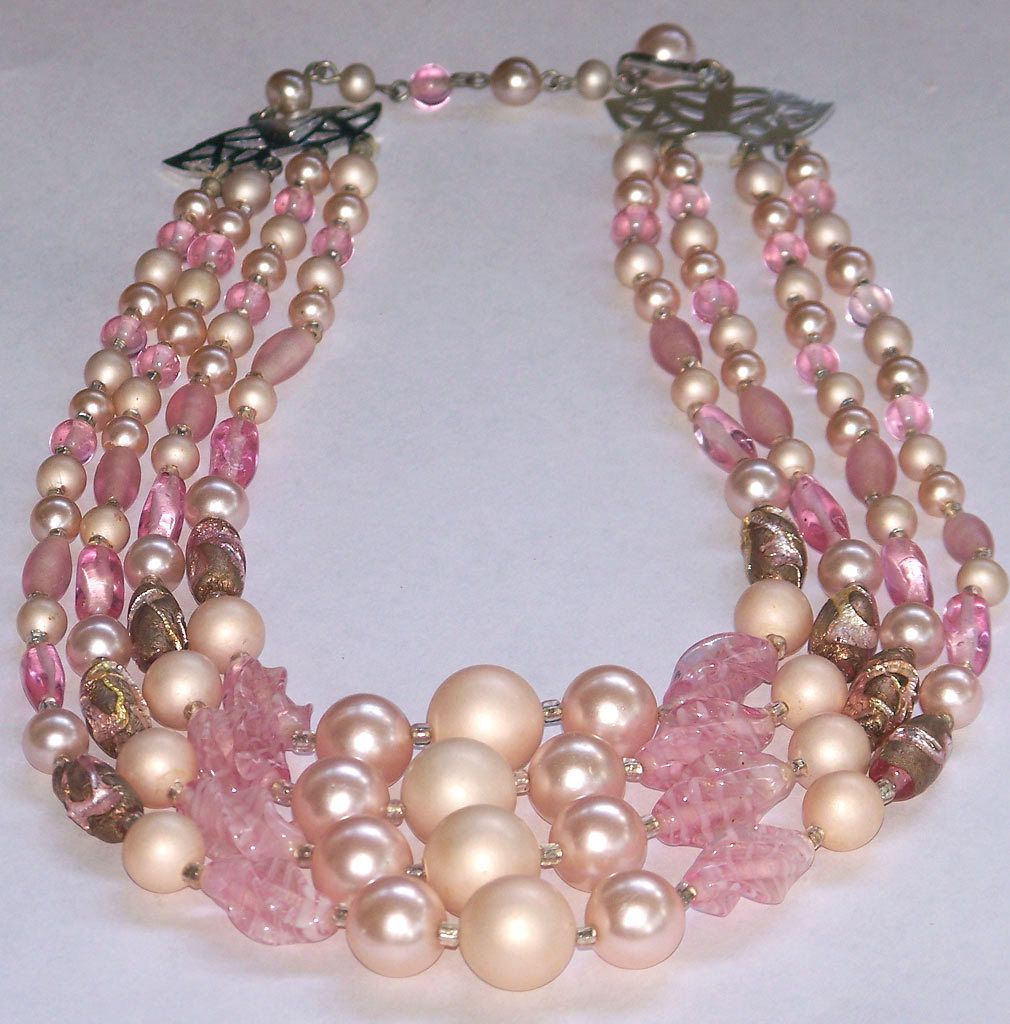 Vintage Pink Art Glass Bead 4 Strand Necklace Japan from cousinsantiques on Ruby Lane