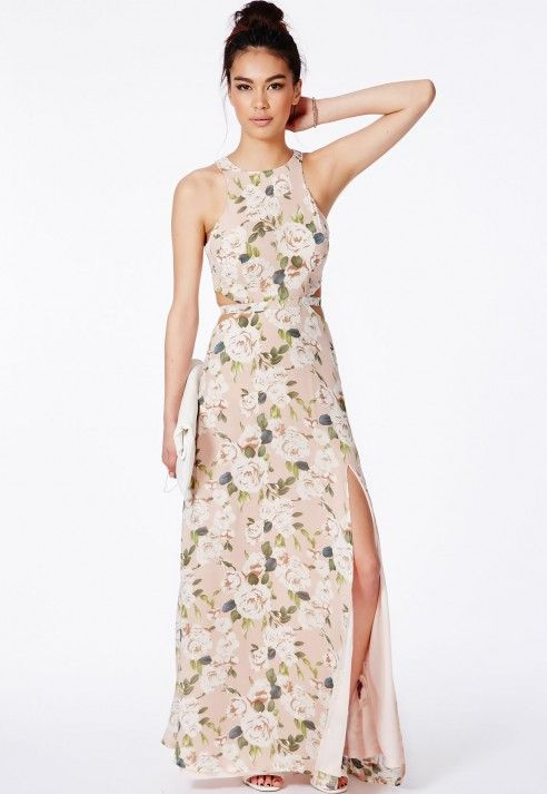 Editha Cut Out Split Maxi Dress In Floral Print - Dresses - Maxi Dresses - Missguided