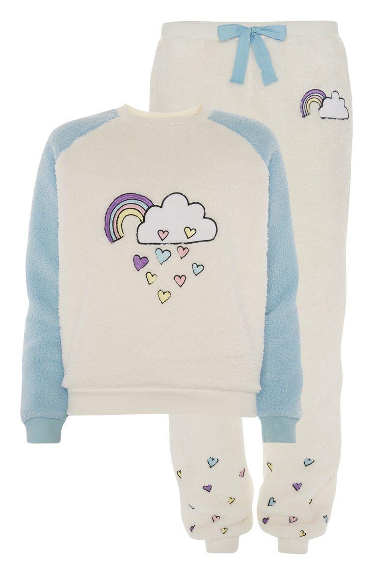 Primark  Zachte crmewitte pyjama met regenboog