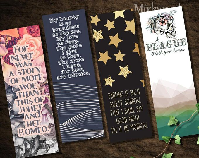 Romeo Juliet Bookmarks Set Of 4 Printable Romeo And Juliet