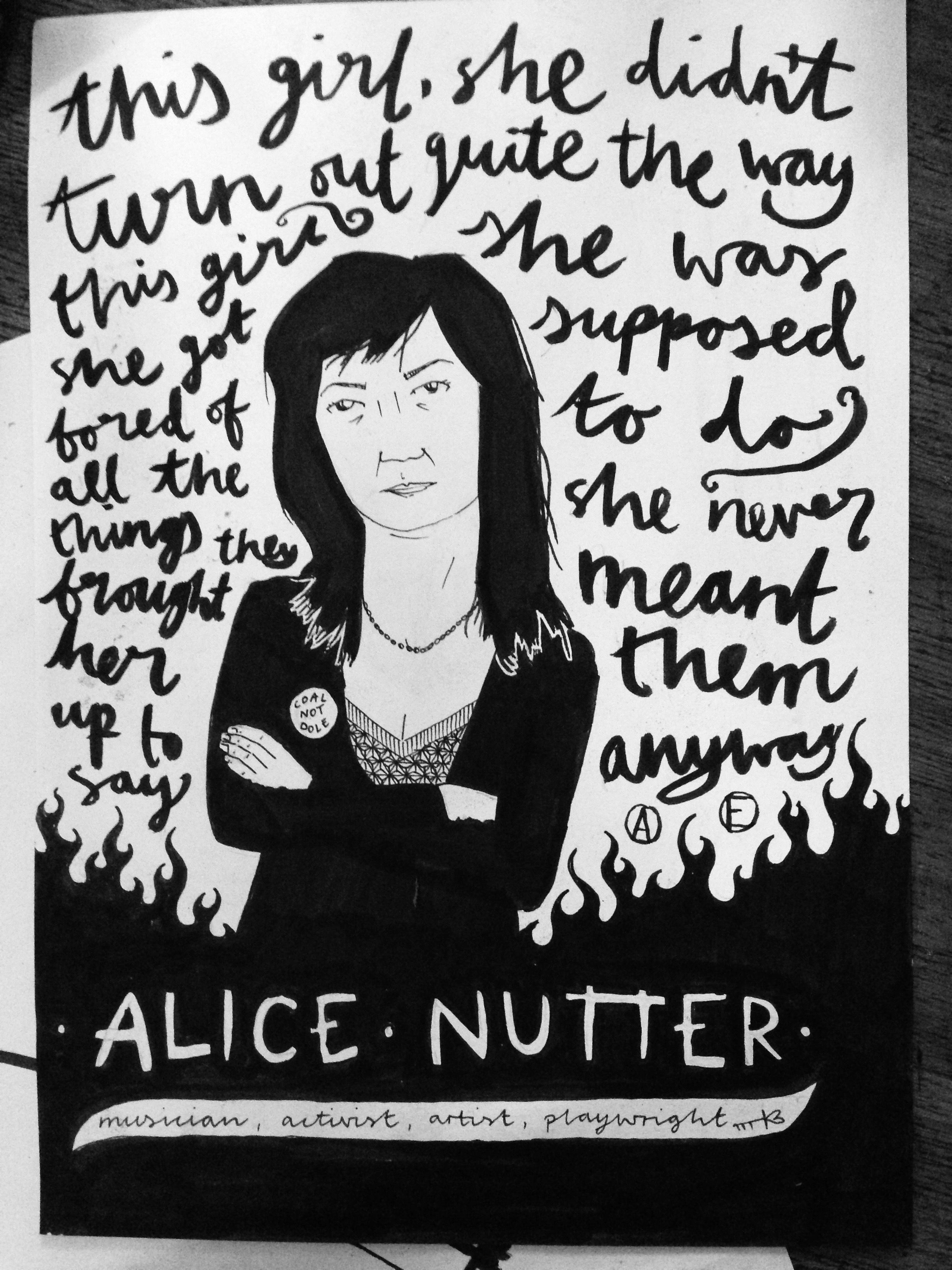 Portrait of Alice Nutter from Chumbawamba, for 'Shape and Situate' zine, July 2015