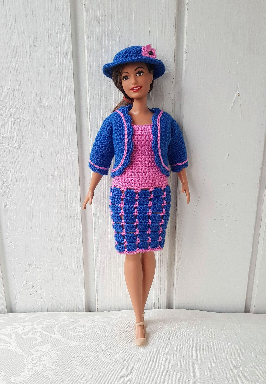 Curvy Barbie clothes Crochet Set Dress Coat Hat for Doll Fashionistas