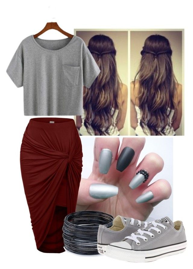 """"""""""" by shaipringle on Polyvore featuring LE3NO, ABS by Allen Schwartz and Converse"""
