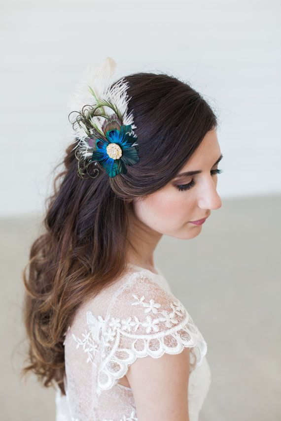 Peacock Feather Bridal Headpiece Navy Blue Hair by GildedShadows 54f04a8163d