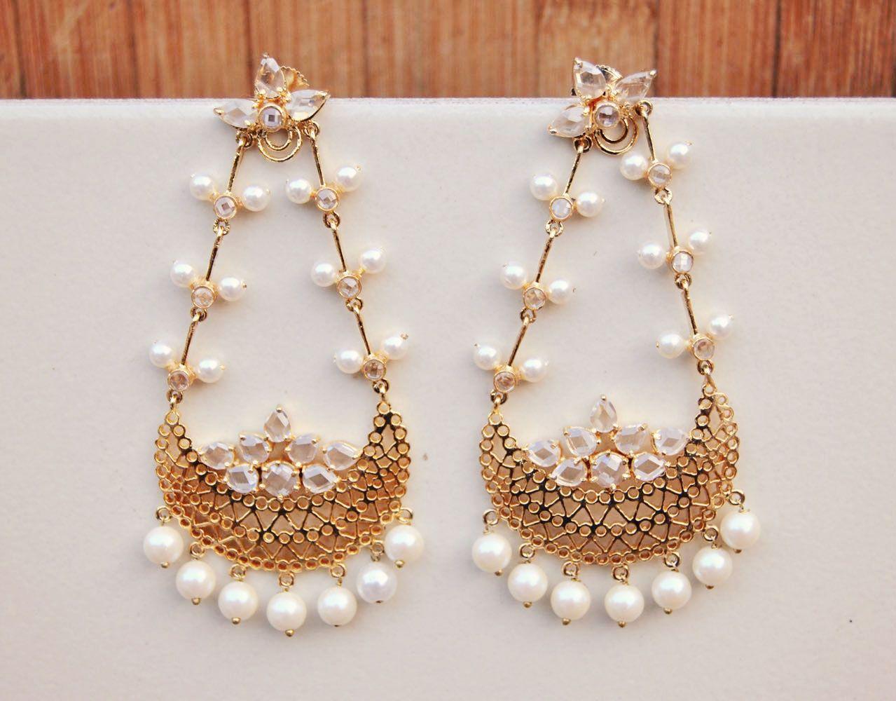 Polki Diamond Jhumar Earrings With Pearls MORNE23888658400 - buy ...
