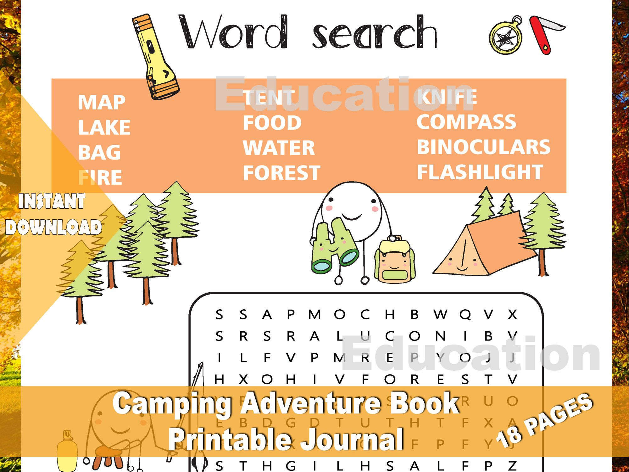 My Camping Adventure Book Activity Worksheets For Camp