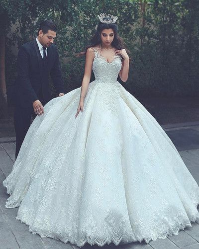 Charming Tulle Ball Gown Wedding Dress, Appliques Lace Appliques ...