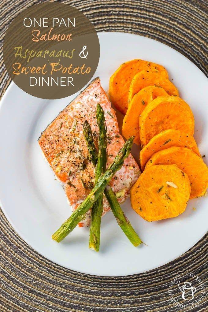 One Pan Salmon Asparagus And Sweet Potato Dinner Recipe