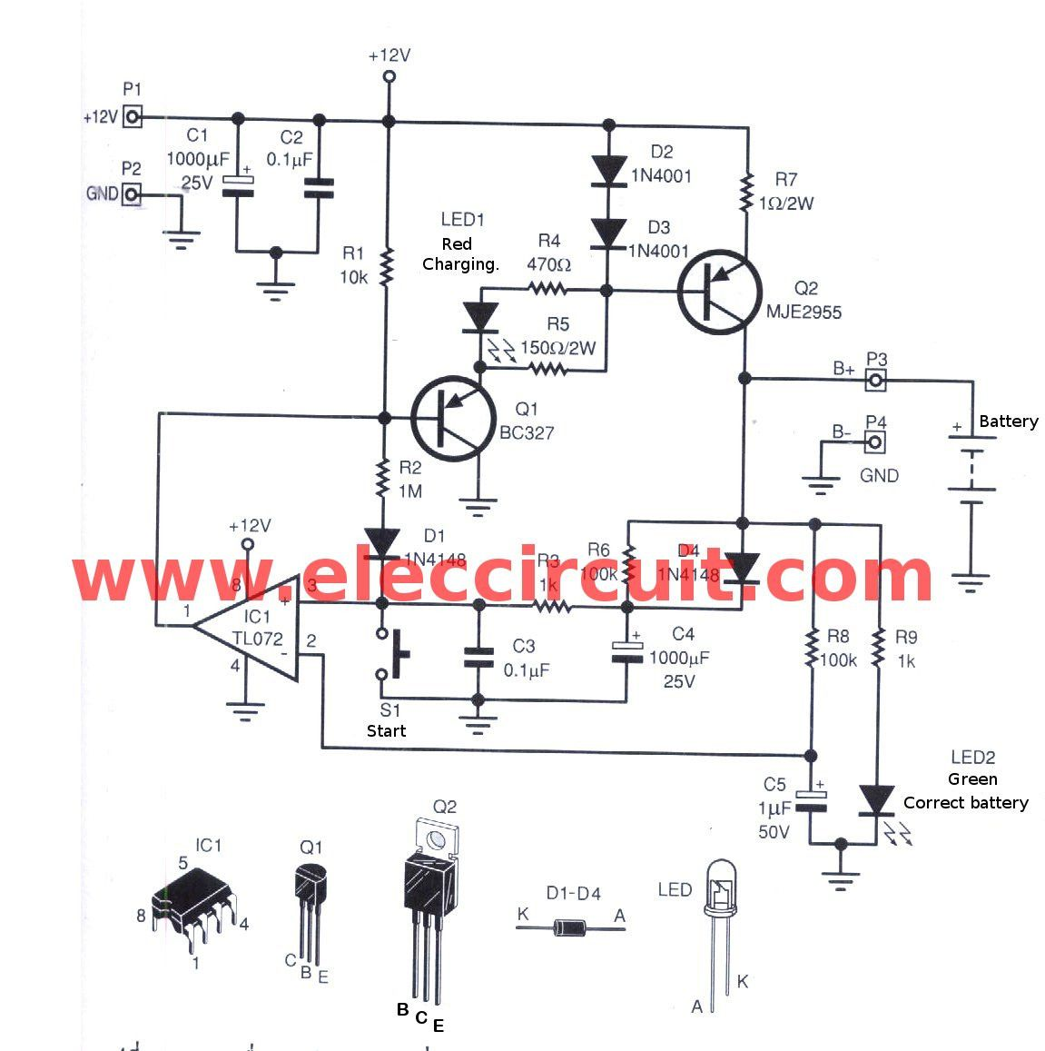 Automatic Nimh Battery Charger Circuit Cutoff When Full