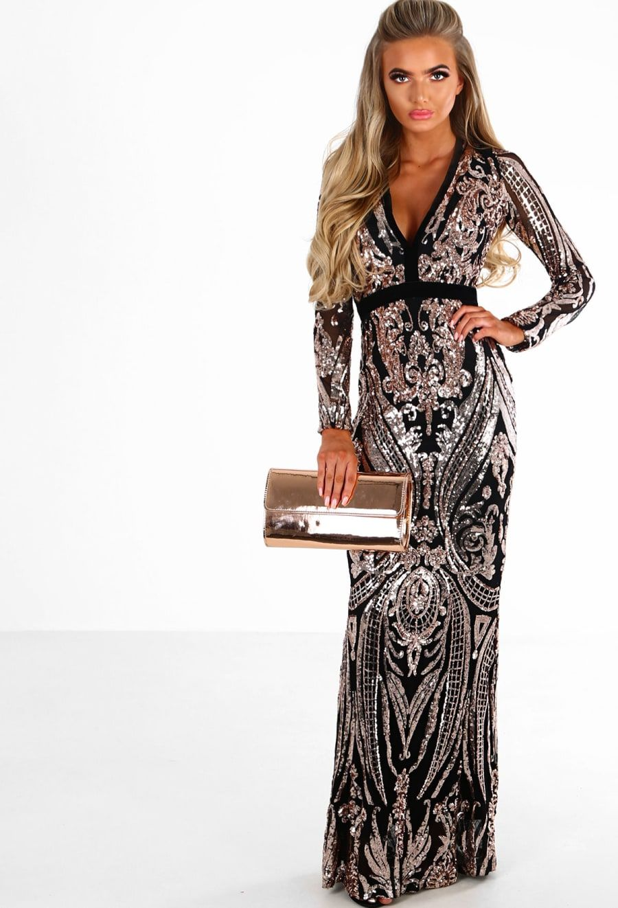 Premium in the spotlight black and rose gold sequin long sleeve maxi