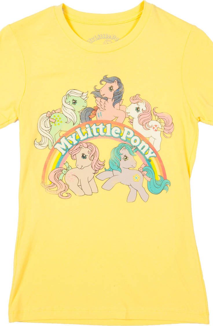 5f300425 Yellow My Little Pony Shirt featuring Minty, Firefly, Sundance, Peachy, and  Princess Sparkle.