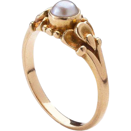 Georg Jensen Gold Ring No. 234 with Pearl