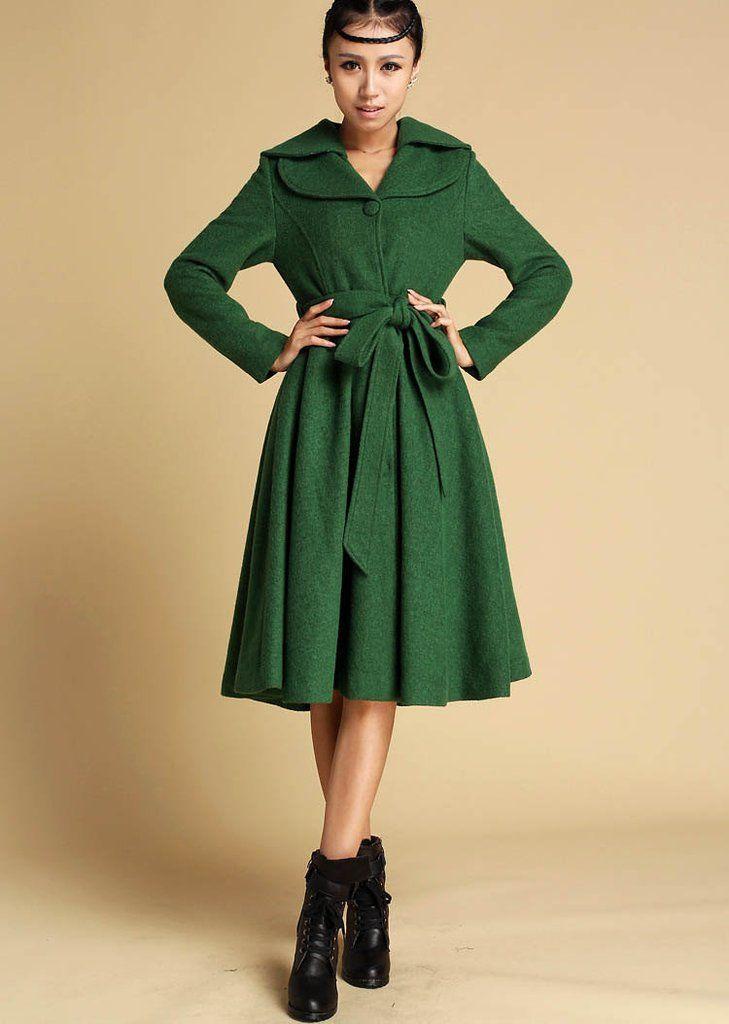 Green Winter Wool Coat - Midi Dress Style Flared Jacket - Knee ...